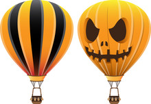 Hot Air Balloon Black Orange A...
