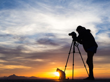 Woman Photographer And Cat At Sunset