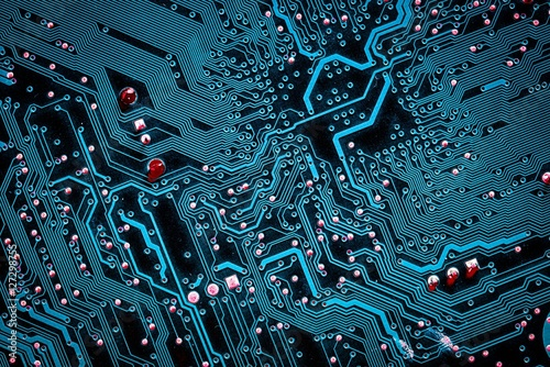 Valokuva  Closeup electronic circuit board background