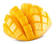 canvas print picture - mango slices isolated on the white background