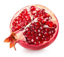 Half Of Pomegranate Isolated On The White Background