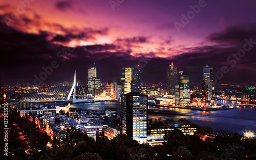 Foto op Canvas Rotterdam Rotterdam skyline with Erasmus bridge at twilight as seen from the Euromast tower, The Netherlands