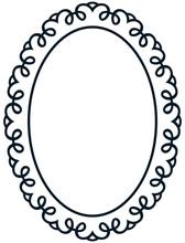 Oval Border Photo Frame Deco. Vector Simple Vertical Line Signbo