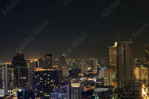 Panorama of Bangkok at night, Thailand Wallpaper Mural