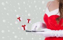 Christmas Woman Holding Smart ...
