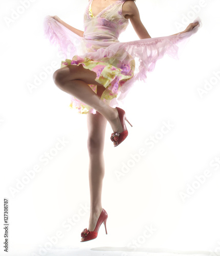 Wall Murals Mermaid woman jumping with fashion dress