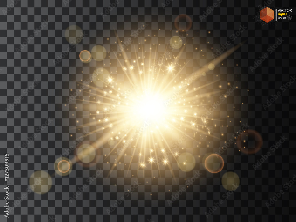 Fototapety, obrazy: Transparent Golden Glow light effect. Star burst with sparkles