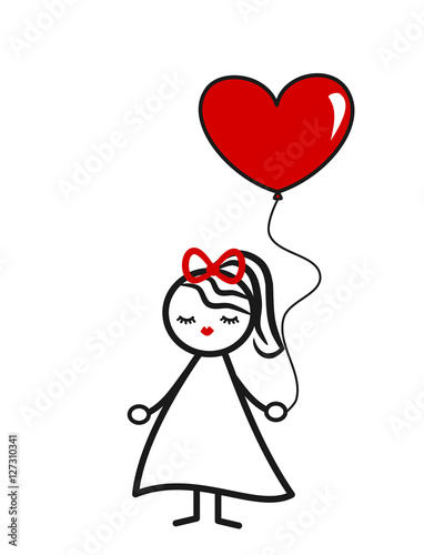 Cute Lovely Black White Red Stick Figure Girl With Heart Balloon