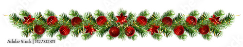 Christmas pine tree twigs and decorations garland Fototapeta