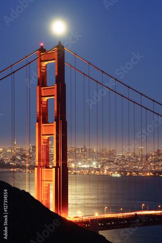 Full Moon Rising over Golden Gate Bridge Canvas Print