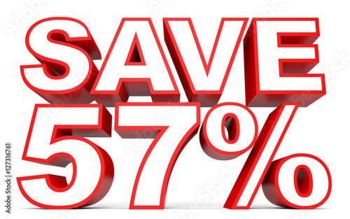 Fotografie, Obraz  Discount 57 percent off. 3D illustration on white background.