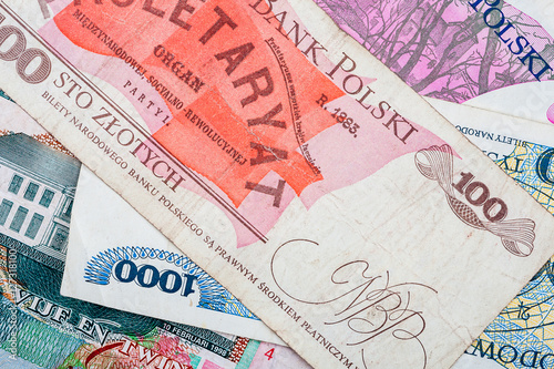 Old Polish banknotes Fototapeta