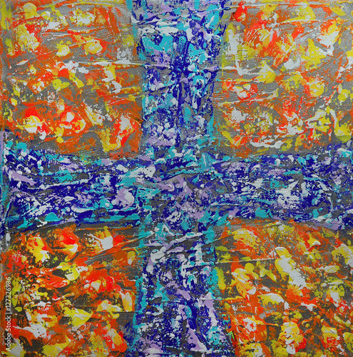 Abstract art painting with blue cross © denys_kuvaiev