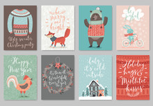 Christmas Card Set, Hand Drawn...