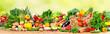 Leinwandbild Motiv Organic vegetables and fruits