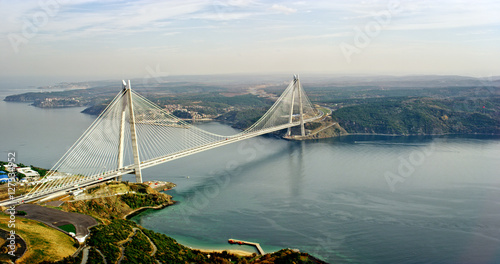 In de dag Brug New bosphorus bridge of Istanbul, Turkey. Aerial view of Yavuz Sultan Selim Bridge.