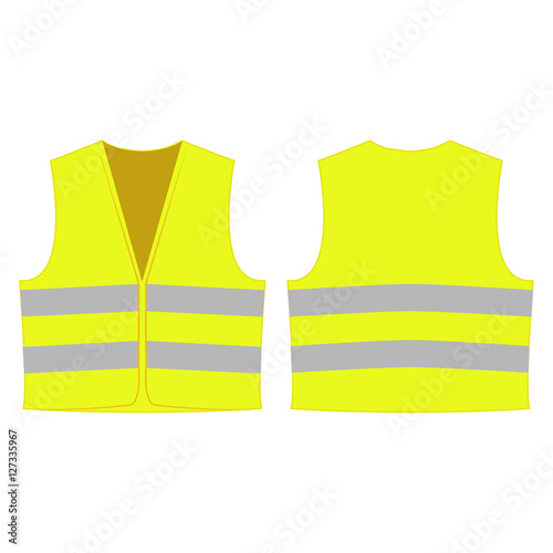 Fotografía  yellow reflective safety vest for people isolated vector front and back for prom