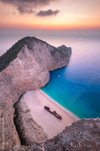 Photo Stands Shipwreck Landscape view of famous Shipwreck (Navagio) beach on Zakynthos