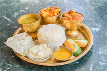 Traditional Nepalese Food - Thali (dal Bhat) In A Restaurant. Selective Focus.