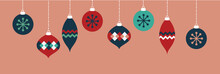 Pink Christmas Ornaments Banner