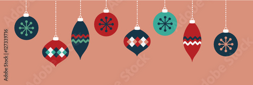 Pink Christmas Ornaments Banner Canvas-taulu