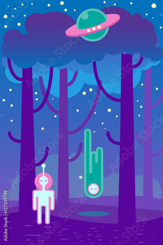 Spoed Foto op Canvas Violet Flat illustration about night landscape, ufo elements - alien and spaceship