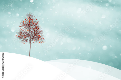 Beautiful snowy winter landscape with orange red colored autumn tree leaves illustration background.