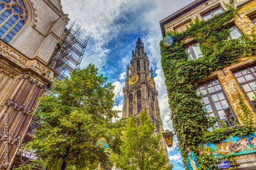 Photo Stands Antwerp Cathedral of Our Lady in Antwerp, Belgium, HDR Image.