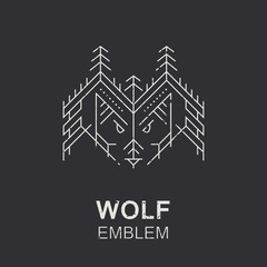 Wolf head geometric emblem, thin line style illustration