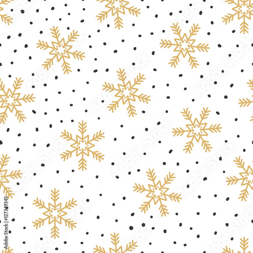 Cotton fabric Christmas seamless pattern with snowflakes