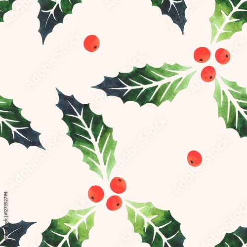 Cotton fabric Seamless watercolor holly