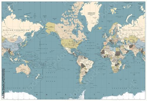 World map retro colors illustration america centered world map world map retro colors illustration america centered world map gumiabroncs Choice Image