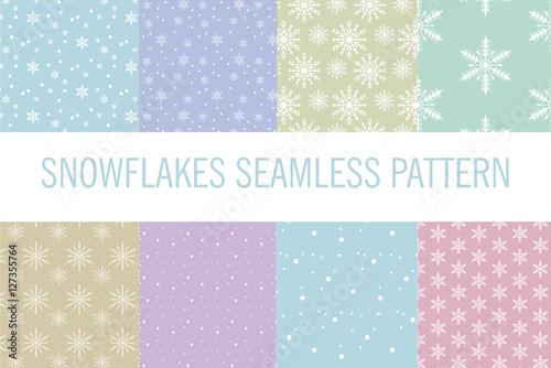 Stoffe zum Nähen Snowflakes seamless pattern. Snow falls background. Vector illustration