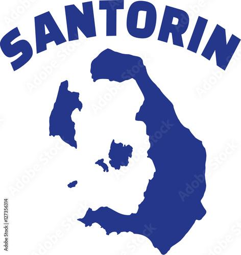 Fototapeta Santorini map with name obraz