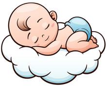 Vector Illustration Of Cartoon Baby Sleeping On A Cloud