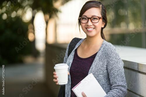 Smart intelligent grad student glasses confident happy at university hall walkin Canvas-taulu