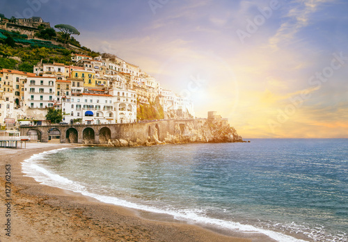beautiful landscape of amalfi coast mediterranean sea south ital