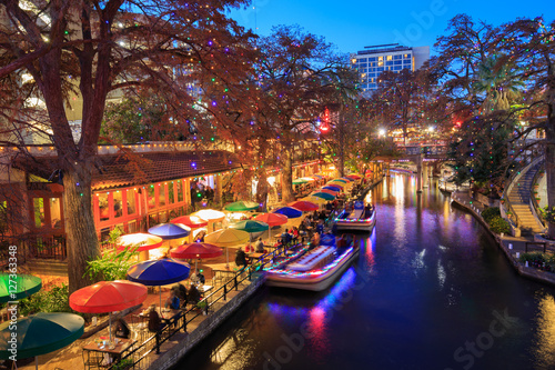 River Walk in San Antonio Texas in colorful Christmas light