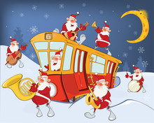 Illustration Of A Christmas Santa Claus, Music Band And A Red Tram