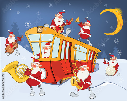 Canvas Prints Baby room Illustration of a Christmas Santa Claus, Music Band and a Red Tram