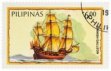 Spanish Galleon On Postage Stamp