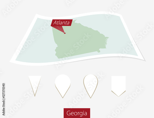 Map Of Georgia With Capital.Curved Paper Map Of Georgia State With Capital Atlanta On Gray
