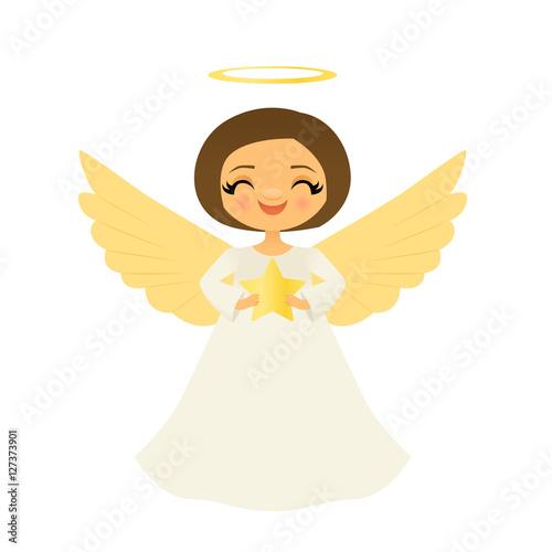 Fotografie, Obraz  Smiling angel holding a star