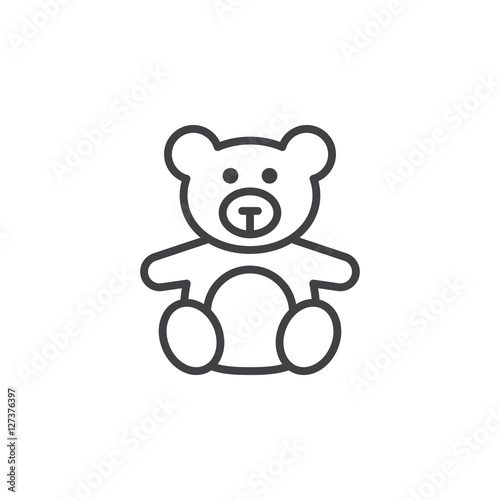 Soft toy, Teddy bear line icon, outline vector sign, linear pictogram isolated on white. logo illustration