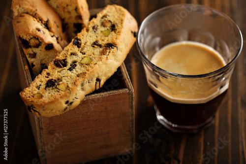 Slika na platnu Homemade biscotti with coffee