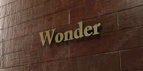 Fotografía Wonder - Bronze plaque mounted on maple wood wall  - 3D rendered royalty free stock picture