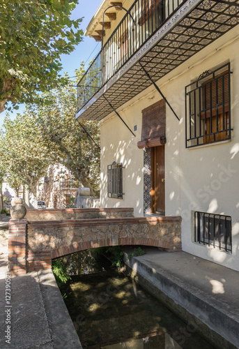 Waterway Typical street of the village and entrance to a house Anna Valencia Spa Poster