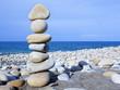 Stones balance on beach, concept of harmony, rocks on the coast