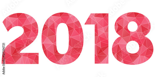 Fotografering  Happy New Year 2018 red and pink polygonal symbol isolated