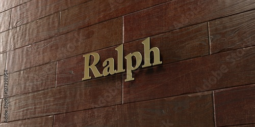 Photo  Ralph - Bronze plaque mounted on maple wood wall  - 3D rendered royalty free stock picture